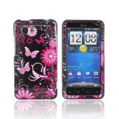HTC Vivid Hard Case - Pink Flowers & Butterflies on Black
