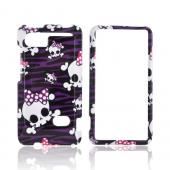 HTC Vivid Hard Case - Skulls on Purple/ Black Zebra
