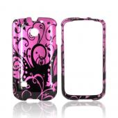Huawei Ascend 2 M865 Hard Case - Black Swirls Design on Purple