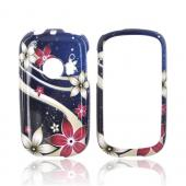 Huawei M835 Hard Case - Pink/ White Flowers on Blue