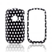 Huawei M835 Hard Case - White Polka Dots on Black