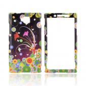 Huawei Ideos X6 Hard Case - Multi-Color Dots & Flowers on Black