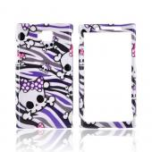 Huawei Ideos X6 Hard Case - Skulls w/ Polka Dot Bows on Purple/ Gray/ Black Zebra on White
