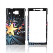 Huawei Ideos X6 Hard Case - Star Burst & Butterflies on Teal/ Black