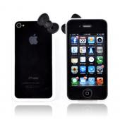 AT&T/ Verizon Apple iPhone 4, iPhone 4S Hard Case Bumper w/ Bow - White/ Black