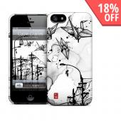OEM GelaSkins Black Cable Cranes on White Hard Case for iPhone 5/5S