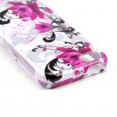Magenta Flowers & Black Vines on White Hard Case for Apple iPhone 5C