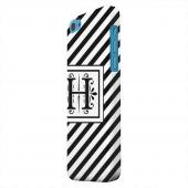 Geeks Designer Line (GDL) Apple iPhone 5C Matte Hard Back Cover - Vintage Vine Monogram H On Black Slanted Stripes
