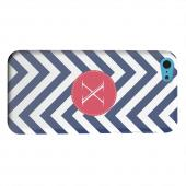 Geeks Designer Line (GDL) Apple iPhone 5C Matte Hard Back Cover - Cherry Button Monogram X on Navy Blue Zig Zags