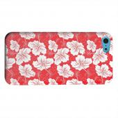 Geeks Designer Line (GDL) Apple iPhone 5C Matte Hard Back Cover - White Hibiscus on Red