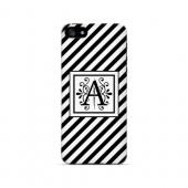 Vintage Vine A On Black Slanted Stripes - Geeks Designer Line Monogram Series Hard Case for Apple iPhone 5/5S