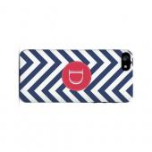 Cherry Button D on Navy Blue Zig Zags - Geeks Designer Line Monogram Series Hard Case for Apple iPhone 5/5S