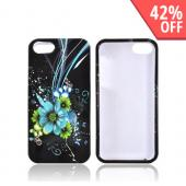 Apple iPhone 5/5S Hard Case - Turquoise/ Green Flowers on Black
