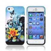 Apple iPhone 5/5S Hard Case - Yellow Lily w/ Swirls on Turquoise/ Black