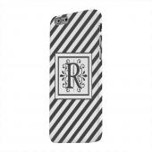 Geeks Designer Line (GDL) Apple iPhone 6 Matte Hard Back Cover - Vintage Vine Monogram R On Black Slanted Stripes