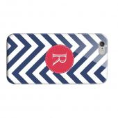 Geeks Designer Line (GDL) Apple iPhone 6 Matte Hard Back Cover - Cherry Button Monogram R on Navy Blue Zig Zags