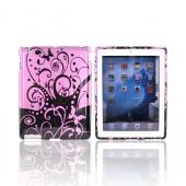 Apple iPad 2nd Gen Hard Case - Purple w/ Black Butterflies & Swirls
