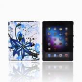 Apple New iPad (3rd Gen.) Hard Case - Blue Flower Splash on White (Works with Smart Cover!)