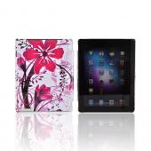 Apple New iPad (3rd Gen.) Hard Case - Pink Flower Splash on White (Works with Smart Cover!)