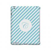 Calligraphy C on Mint Slanted Stripes - Geeks Designer Line Monogram Series Hard Case for Apple iPad (3rd & 4th Gen.)