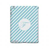 Calligraphy F on Mint Slanted Stripes - Geeks Designer Line Monogram Series Hard Case for Apple iPad (3rd & 4th Gen.)