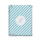 Calligraphy I on Mint Slanted Stripes - Geeks Designer Line Monogram Series Hard Case for Apple iPad (3rd & 4th Gen.)