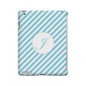 Calligraphy J on Mint Slanted Stripes - Geeks Designer Line Monogram Series Hard Case for Apple iPad (3rd & 4th Gen.)