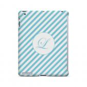 Calligraphy L on Mint Slanted Stripes - Geeks Designer Line Monogram Series Hard Case for Apple iPad (3rd & 4th Gen.)