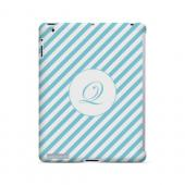 Calligraphy Q on Mint Slanted Stripes - Geeks Designer Line Monogram Series Hard Case for Apple iPad (3rd & 4th Gen.)