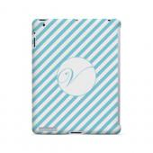 Calligraphy V on Mint Slanted Stripes - Geeks Designer Line Monogram Series Hard Case for Apple iPad (3rd & 4th Gen.)