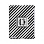 Vintage Vine D On Black Slanted Stripes - Geeks Designer Line Monogram Series Hard Case for Apple iPad (3rd & 4th Gen.)