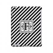 Vintage Vine F On Black Slanted Stripes - Geeks Designer Line Monogram Series Hard Case for Apple iPad (3rd & 4th Gen.)