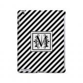 Vintage Vine M On Black Slanted Stripes - Geeks Designer Line Monogram Series Hard Case for Apple iPad (3rd & 4th Gen.)