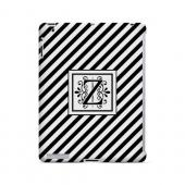 Vintage Vine Z On Black Slanted Stripes - Geeks Designer Line Monogram Series Hard Case for Apple iPad (3rd & 4th Gen.)