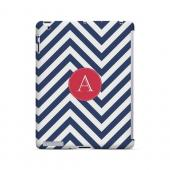 Cherry Button A on Navy Blue Zig Zags - Geeks Designer Line Monogram Series Hard Case for Apple iPad (3rd & 4th Gen.)