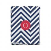 Cherry Button O on Navy Blue Zig Zags - Geeks Designer Line Monogram Series Hard Case for Apple iPad (3rd & 4th Gen.)