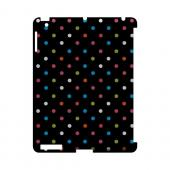 Retro Rainbow Dots on Black Geeks Designer Line Polka Dot Series Slim Hard Case for Apple iPad (3rd & 4th Gen.)