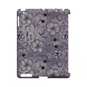 Floral Stripes Hint of Purple - Geeks Designer Line Floral Series Hard Case for Apple iPad (3rd & 4th Gen.)