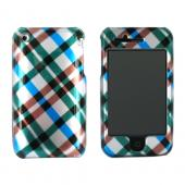 Apple iPhone 3G Hard Case - Checkered Diamonds of Blue, Green, Brown, Silver