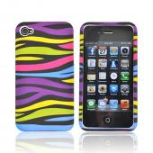 Apple Verizon/ AT&T iPhone 4, iPhone 4S Hard Case - Rainbow/Black Zebra