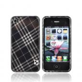 Luxmo Apple Verizon/ AT&T iPhone 4, iPhone 4S Hard Case - Gray Black Plaid
