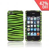 AT&T/ Verizon Apple iPhone 4, iPhone 4S Hard Case - Green/ Black Zebra