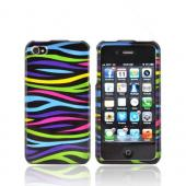 AT&T/ Verizon Apple iPhone 4, iPhone 4S Hard Case - Rainbow Zebra on Black