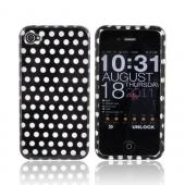 Apple AT&T/ Verizon iPhone 4 Hard Case - Silver Polka Dots on Black