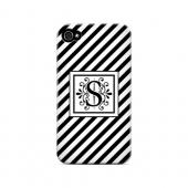 Vintage Vine S On Black Slanted Stripes - Geeks Designer Line Monogram Series Matte Case for Apple iPhone 4/4S