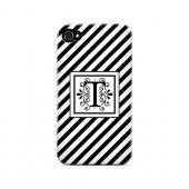Vintage Vine T On Black Slanted Stripes - Geeks Designer Line Monogram Series Matte Case for Apple iPhone 4/4S