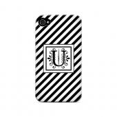 Vintage Vine U On Black Slanted Stripes - Geeks Designer Line Monogram Series Matte Case for Apple iPhone 4/4S