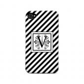 Vintage Vine V On Black Slanted Stripes - Geeks Designer Line Monogram Series Matte Case for Apple iPhone 4/4S