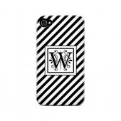 Vintage Vine W On Black Slanted Stripes - Geeks Designer Line Monogram Series Matte Case for Apple iPhone 4/4S