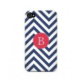 Cherry Button B on Navy Blue Zig Zags - Geeks Designer Line Monogram Series Matte Case for Apple iPhone 4/4S